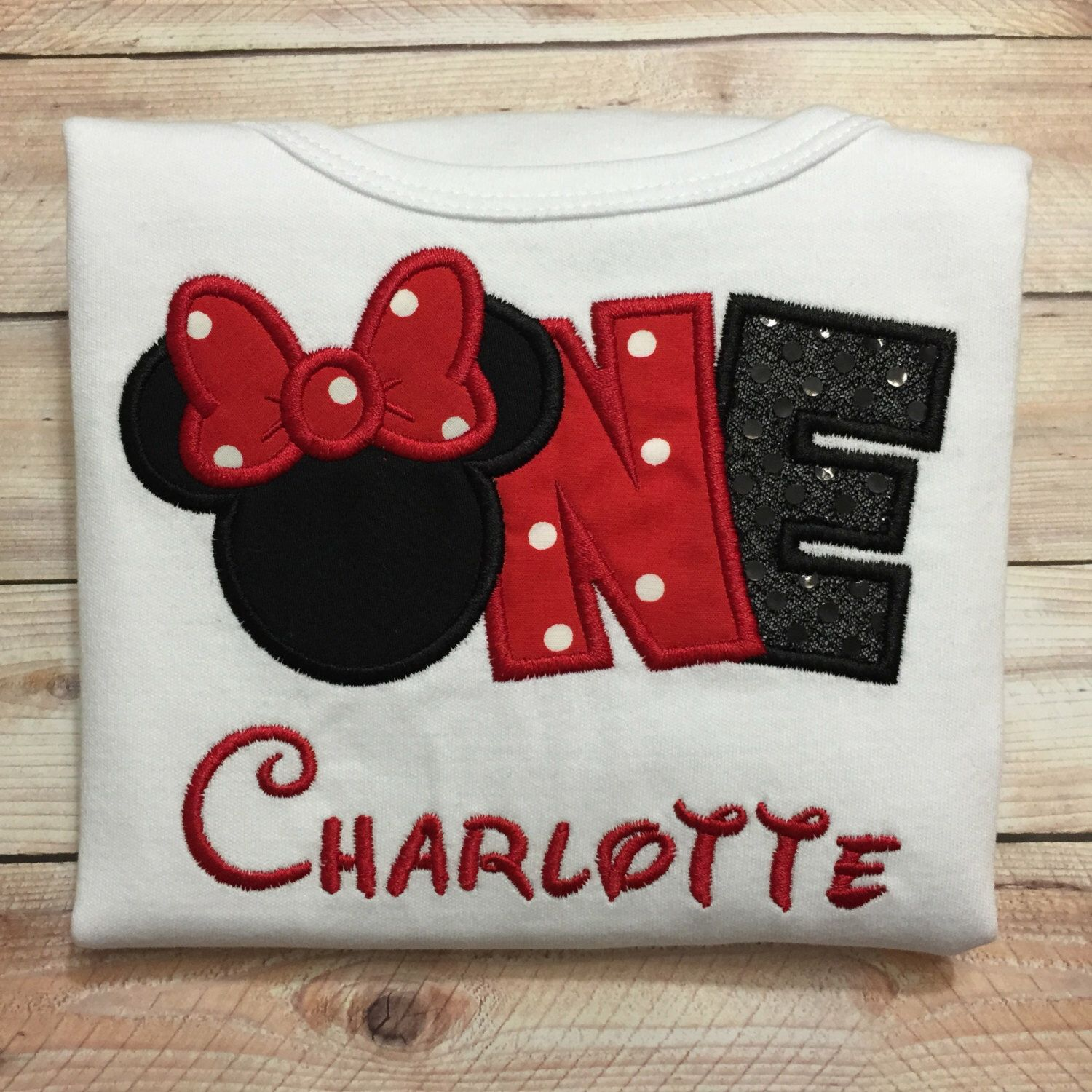Embroidered Minnie Mouse inspired number shirt or onesie for baby or toddler girl. One, Two, or Three available by SewSweetSydney on Etsy https://www.etsy.com/listing/237699751/embroidered-minnie-mouse-inspired-number