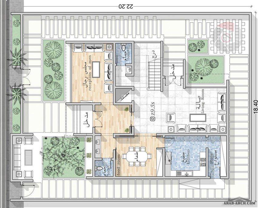 تصميم فيلا من مبادرة حساب تصميم مهندس يحيي زنقوطي Architectural Floor Plans Model House Plan Modern House Plans