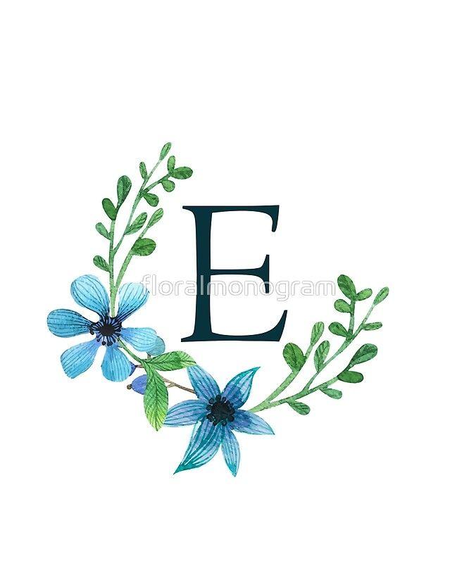'Monogram E Pretty Blue Flowers' Sticker by floralmonogram