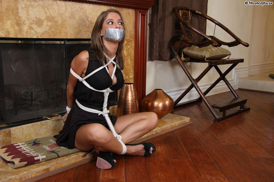 Fishnet hose shaved bound gagged