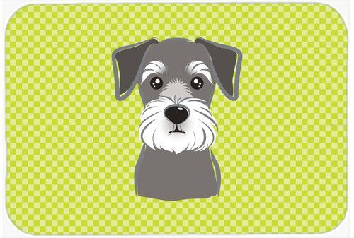 Checkerboard Lime Green Schnauzer Mouse Pad, Hot Pad or Trivet BB1268MP