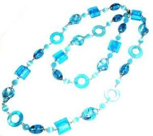 Tribe Aqua Shell and Glass 'Hoop La' Necklace Tribe. $19.99. Other colors available. Shipping to the USA 3 to 6 days from England