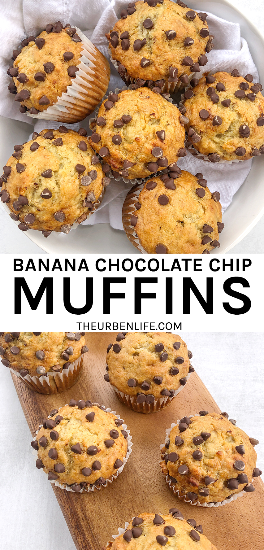 Easy Banana Chocolate Chip Muffins The Urben Life Recipe In 2020 Easy Banana Chocolate Chip Muffins Dessert Recipes Easy Banana Chocolate Chip
