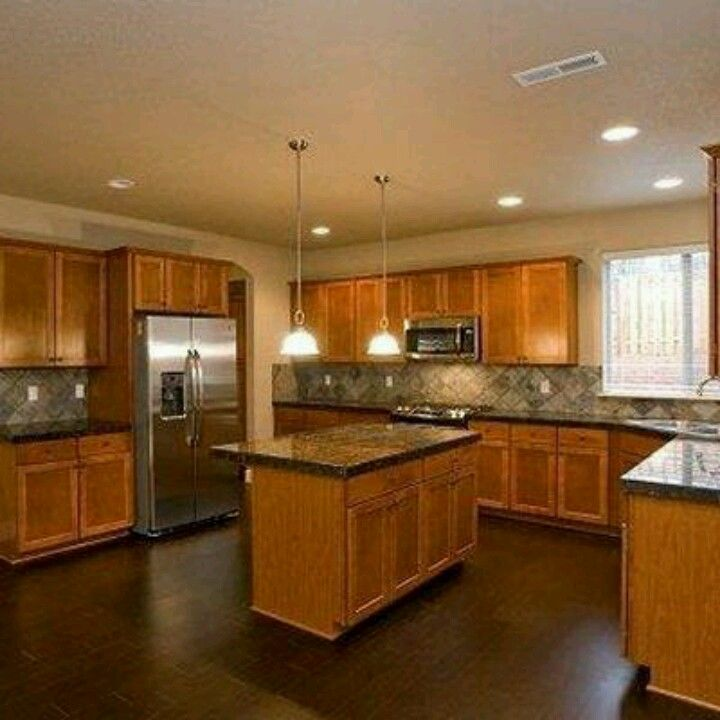 Similar layout with bar and island:) white cabinets and ... on What Color Granite Goes With Honey Maple Cabinets  id=14120