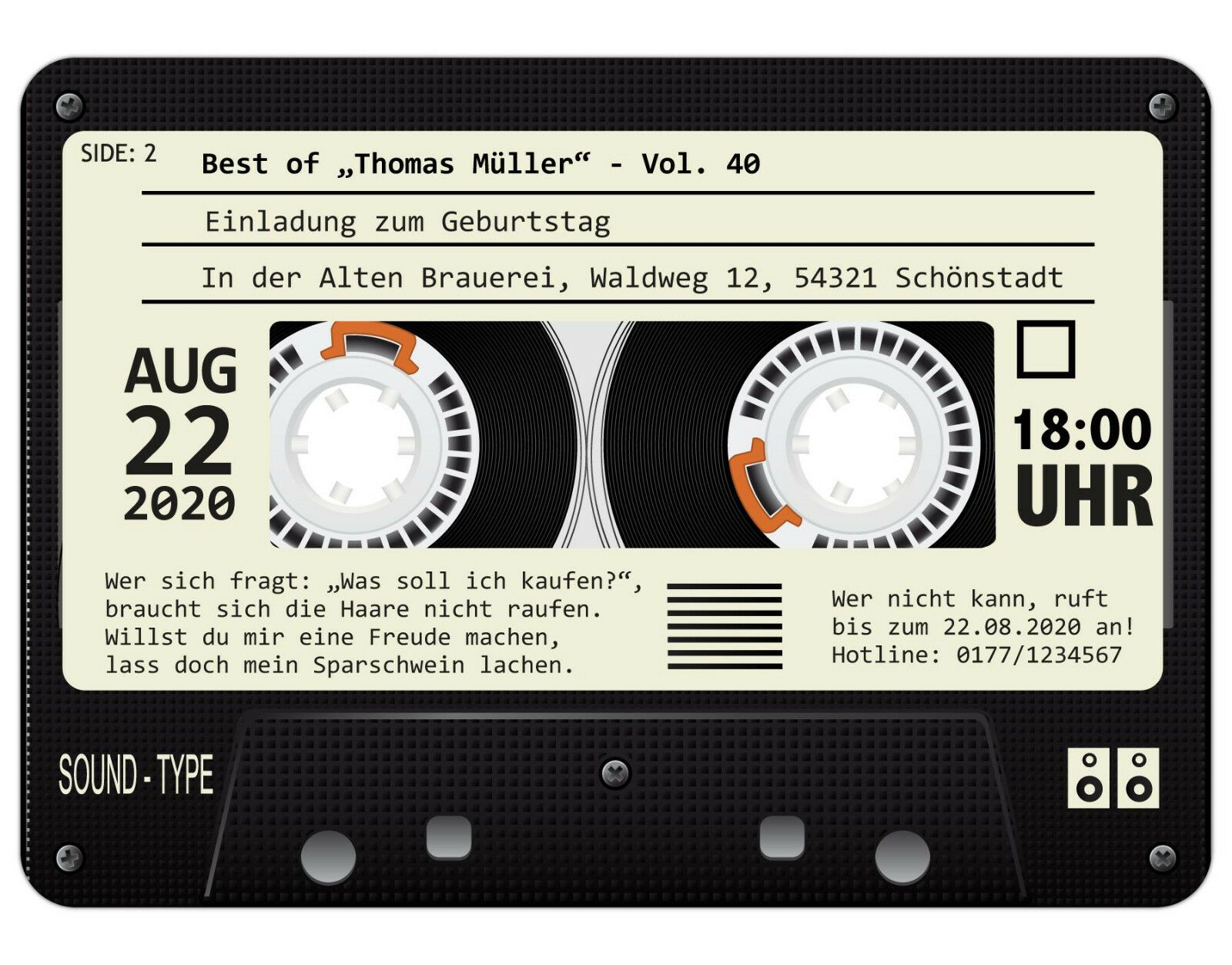 Musikkassette Motiv Einladung Einladungskarten zum Geburtstag 60 St/ück als Kassette