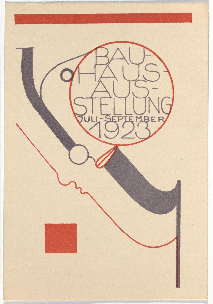 """Oskar Schlemmer, """"Bauhaus Ausstellung Weimar Juli–Sept, 1923, Karte 8"""" (1923), lithograph, 5 7/8 × 3 15/16 inches"""