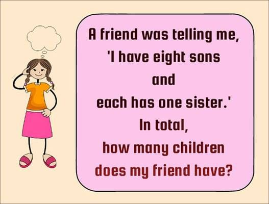 Solve Logic Riddles I Have Eight Sons And Each Has One Sister