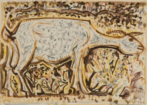Goat and Birds, 1984, John Craxton. English (1922 - 2009)