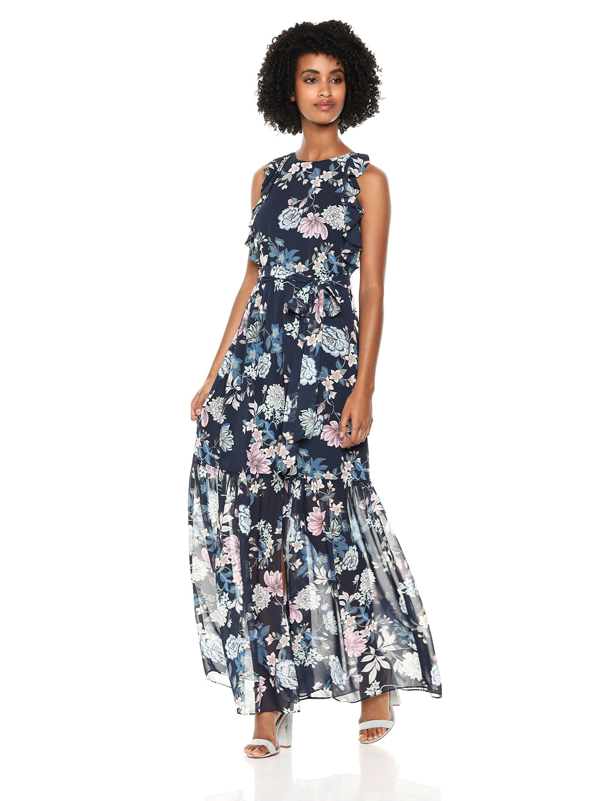 Vince Camuto Womens Floral Chiffon Ruffle Maxi Navy 10 Want To Know More Click On The Image Note Amazon Affiliate L Floral Chiffon Chiffon Ruffle Fashion [ 2560 x 1969 Pixel ]