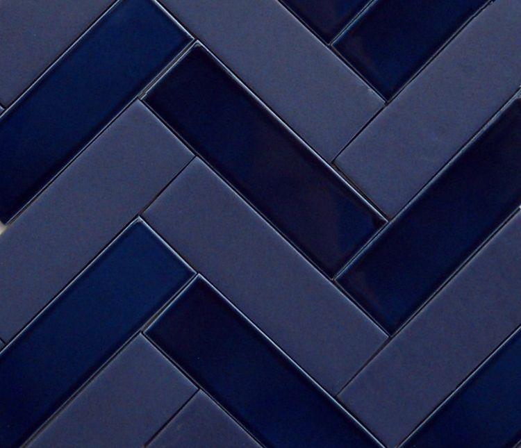 Tone On Tone Indigo Blue 2x6 Herringbone Using A Glossy And A Matte Glaze Blue Herringbone Tile Navy Blue Tile Herringbone Tile
