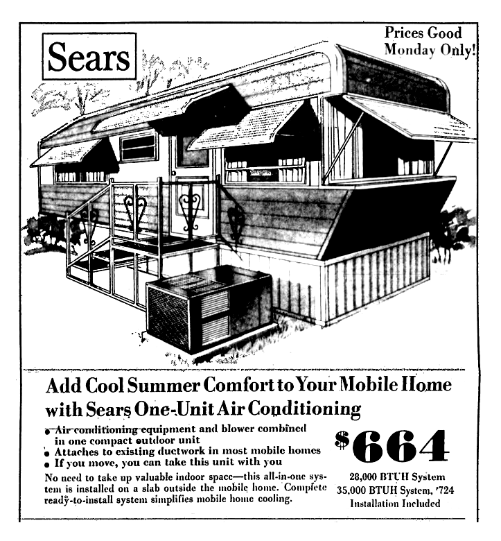 Sears Mobile Home Air Conditioning May 1974 Mobile