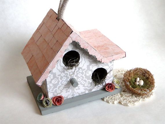 grey decorative birdhouse pink bird house grey by wildsugarberries, Hause ideen