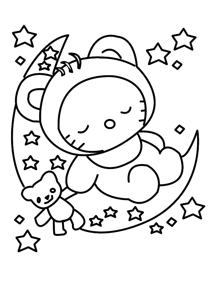 Hello Kitty Sleeping In Christmas Eve Coloring Pages Christmas Kitty Coloring Hello Kitty Drawing Hello Kitty Colouring Pages