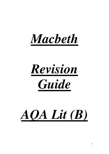 Macbeth: Revision Materials and Resources. Shakespeare