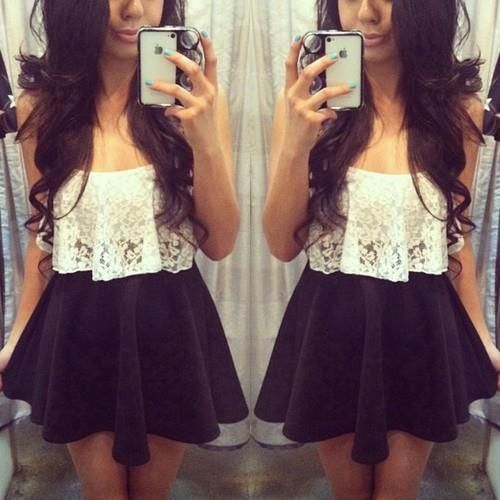 High Wasted Skirt , and a Short White Lace Top