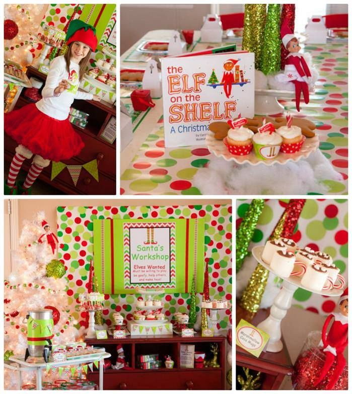 A Cute Santa S Little Helpers Themed Birthday Party Christmas Party Planning Kids Christmas Party Christmas Birthday Party
