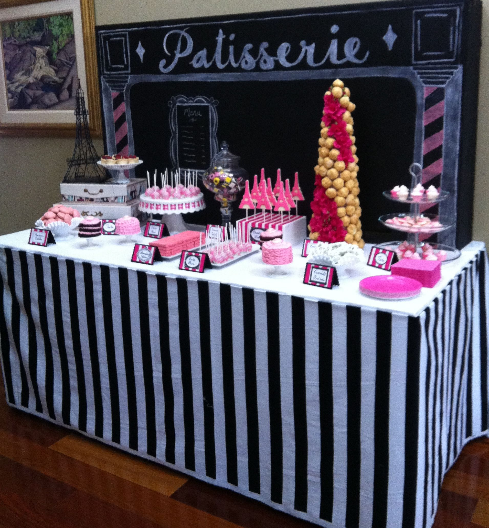 Dessert Table Paris Themed Bridal Shower