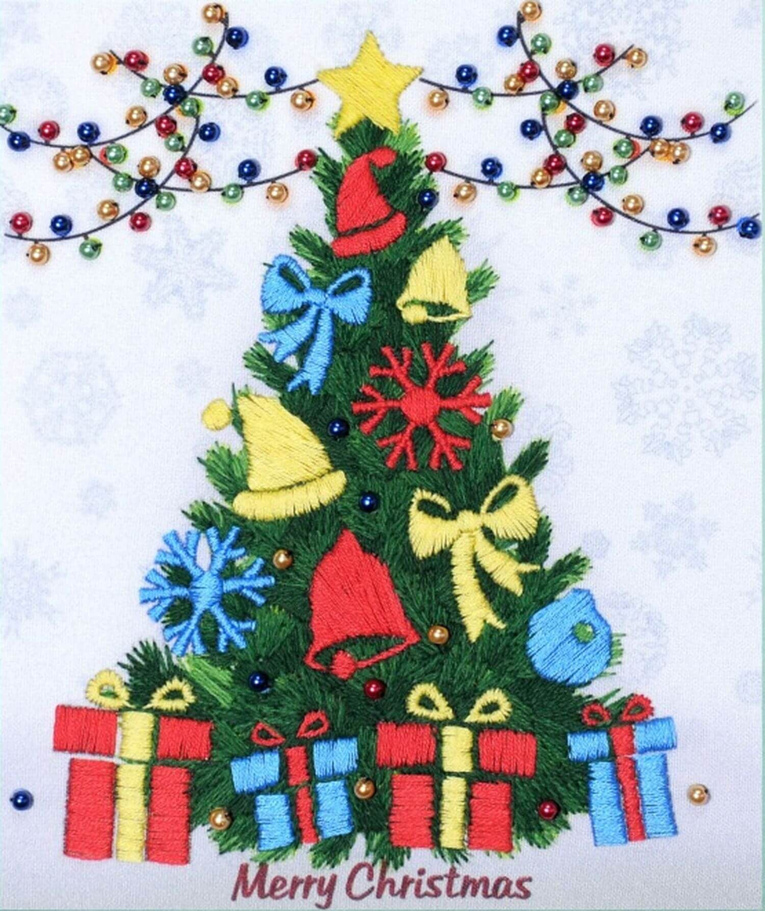 Embroidery Kit Christmas Tree In 2020 Embroidery Kits Cross Stitch Tree Christmas Cross Stitch