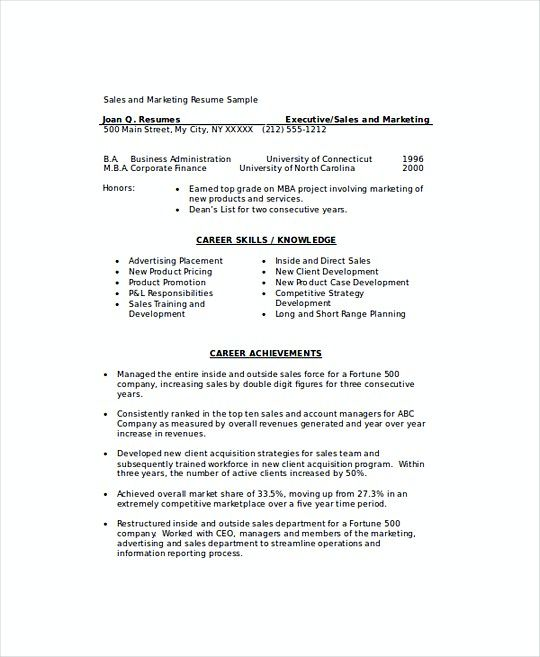 Sales And Marketing Resume Marketing Sales Manager Resume Template  Sales Operations Manager