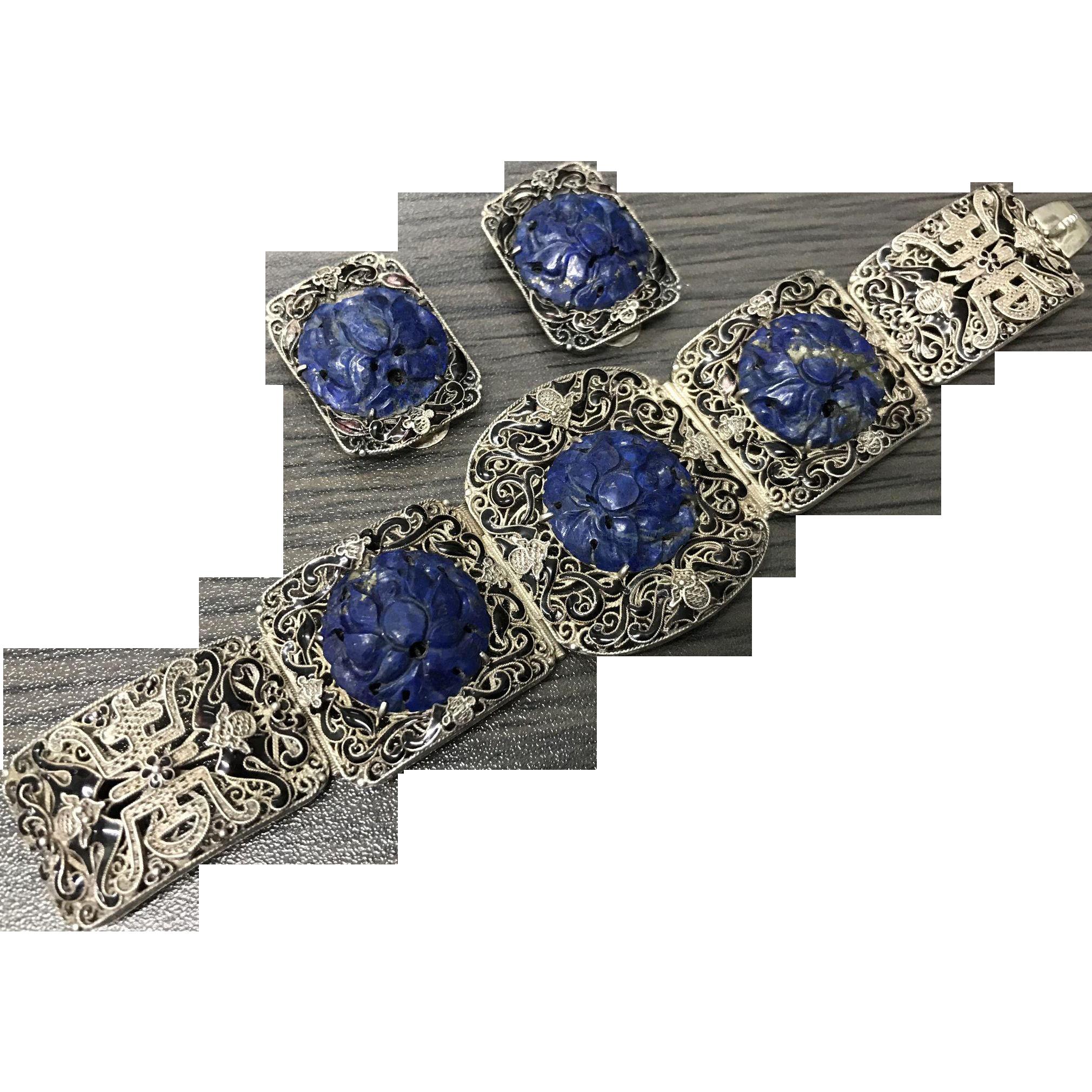 Antiques Atlas - Chinese Silver Enamel,jade Bracelet