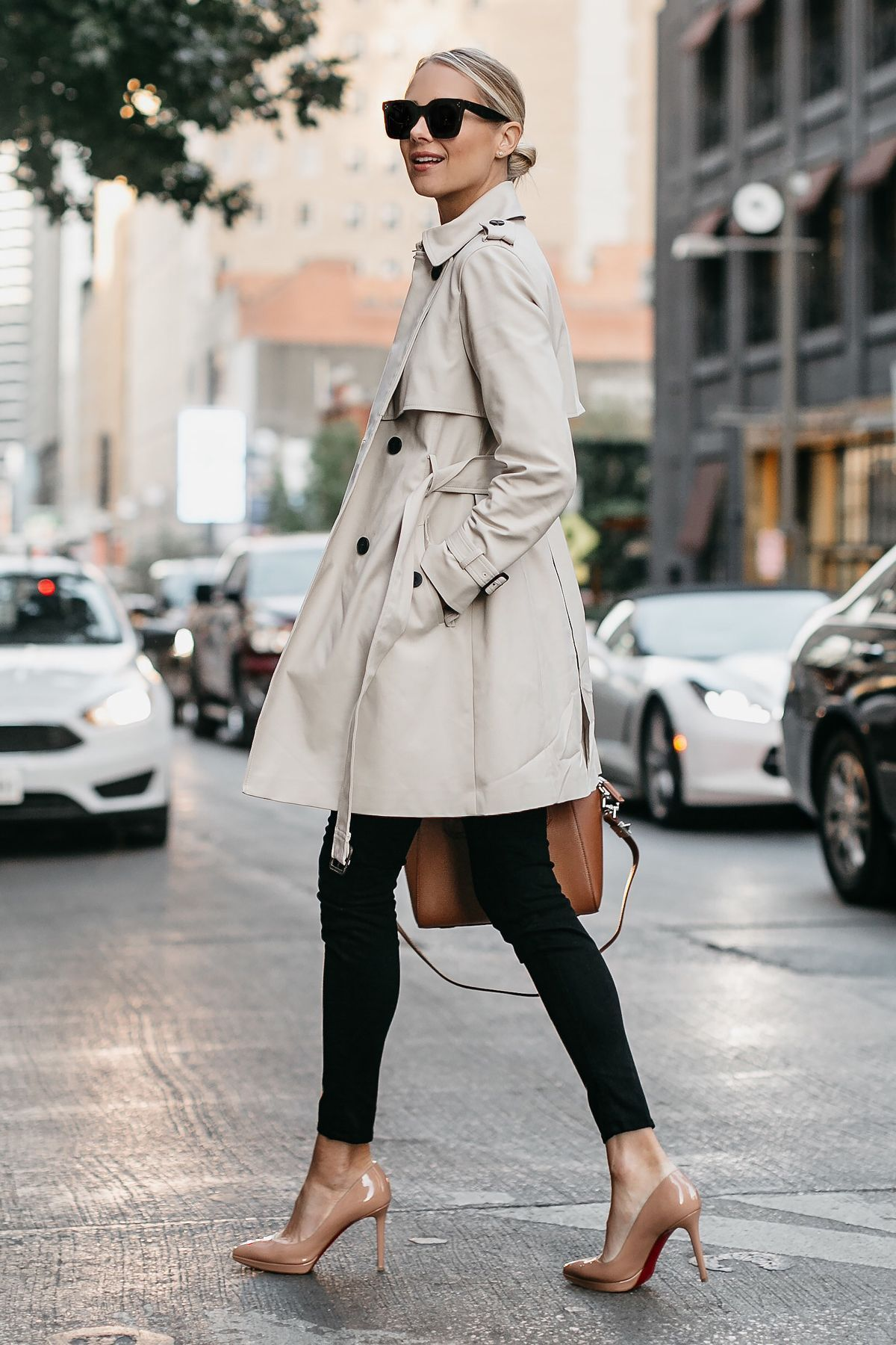 c812126c2ada Blonde Woman Wearing Club Monaco Trench Coat Black Sweater Black Skinny  Jeans Christian Louboutin Nude Pumps Fashion Jackson Dallas Blogger Fashion  Blogger ...