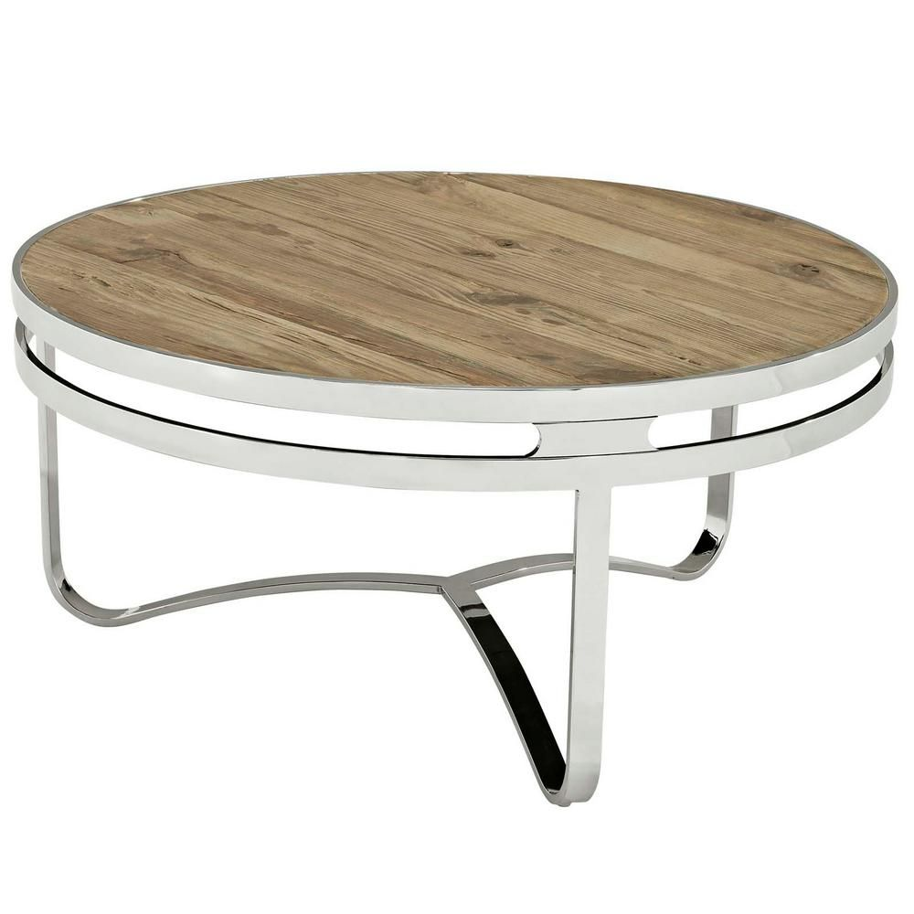 modway provision brown wood top coffee table stainless on stunning wooden metal coffee table id=22704