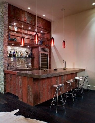 Red Barn Wood Wet Bar- w/ what looks like a concrete counter top. Love the pin and pendant lights too. Gorgeous!!
