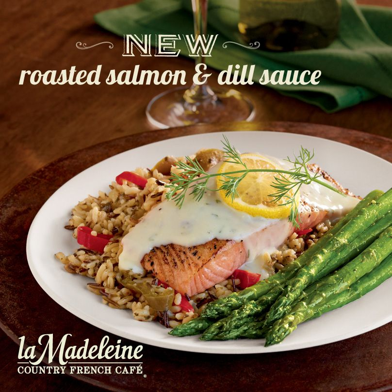 Our Roasted Salmon And Dill Sauce Perfectly Roasted Salmon Fillet With Asparagus Over A Bed