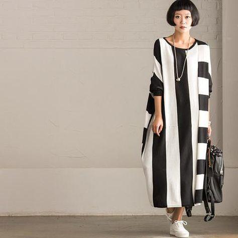 korean style maxi size loose knitting stripe bat sleeve