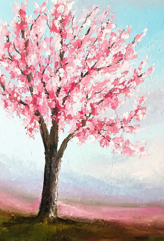 Cherry Blossom Painting Palette Knife Tree By Nikspaintgallery