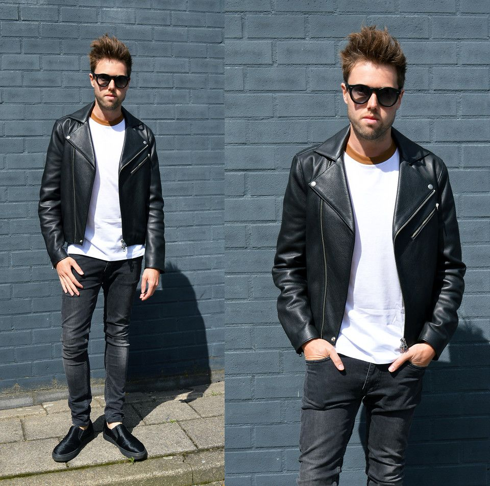 Jordi Black and White Leather jacket, Top shoes for
