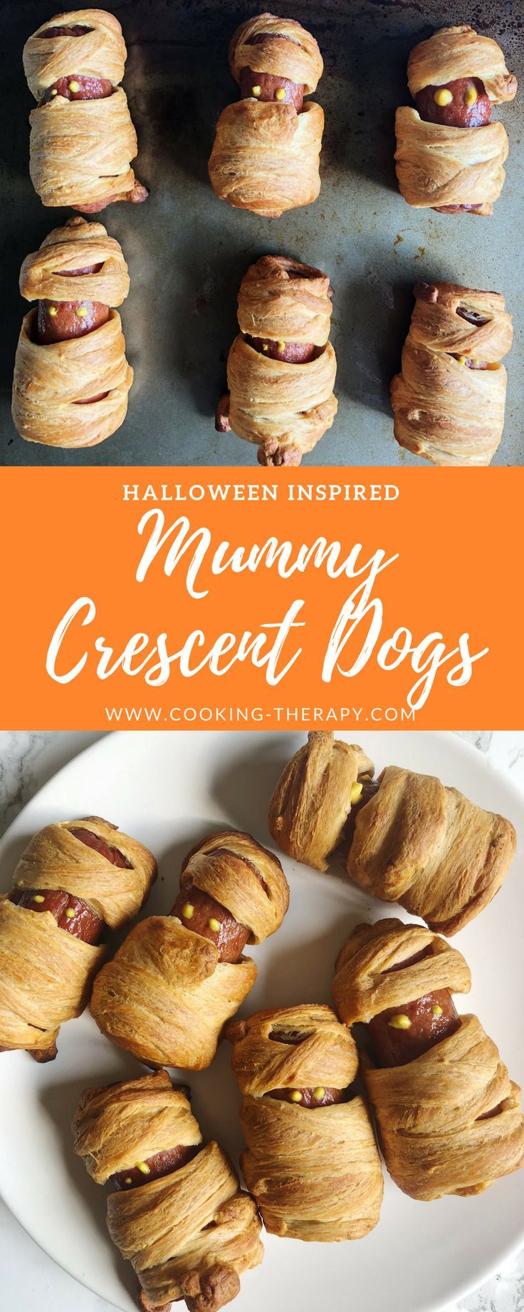 Halloween Inspired Mummy Crescent Dogs - Cooking Therapy #mummyhotdogscrescentrolls