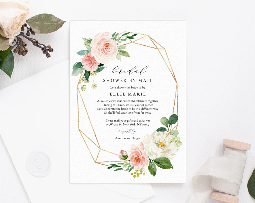 Bridal Shower By Mail Template Social Distancing Blush Bridal Shower Invitation Long Distance Bridal Shower Template Templett W29 In 2020 Blush Bridal Showers Bridal Shower Bridal Shower Invitations