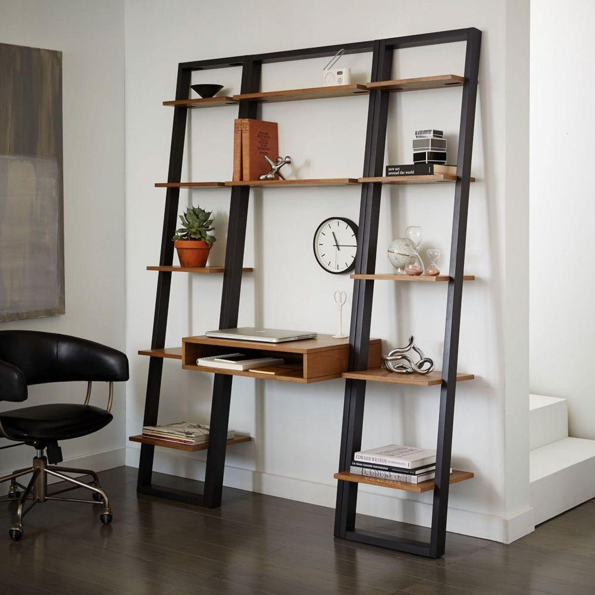 Ladder Shelf Storage Leaning Wall Desk + 2 Narrow Shelves