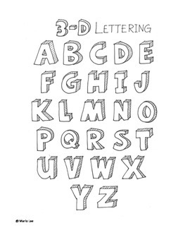 How to Draw 3D Letters Handout for Art Class | Lettering and