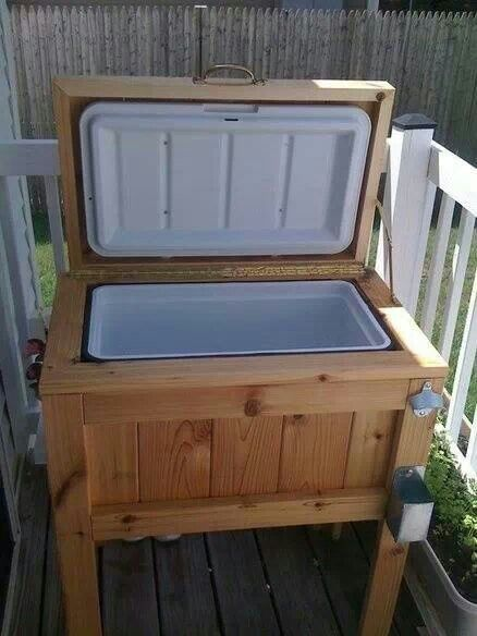 Outdoor cooler with bottle opener and bottle cap catch... now picture in FSU decor
