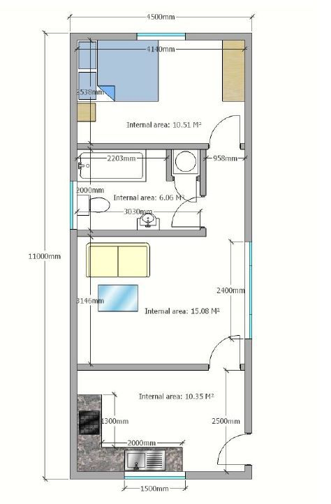 Granny Annexe floor plan with bedroom, bathroom, kitchen and lounge area.  www.