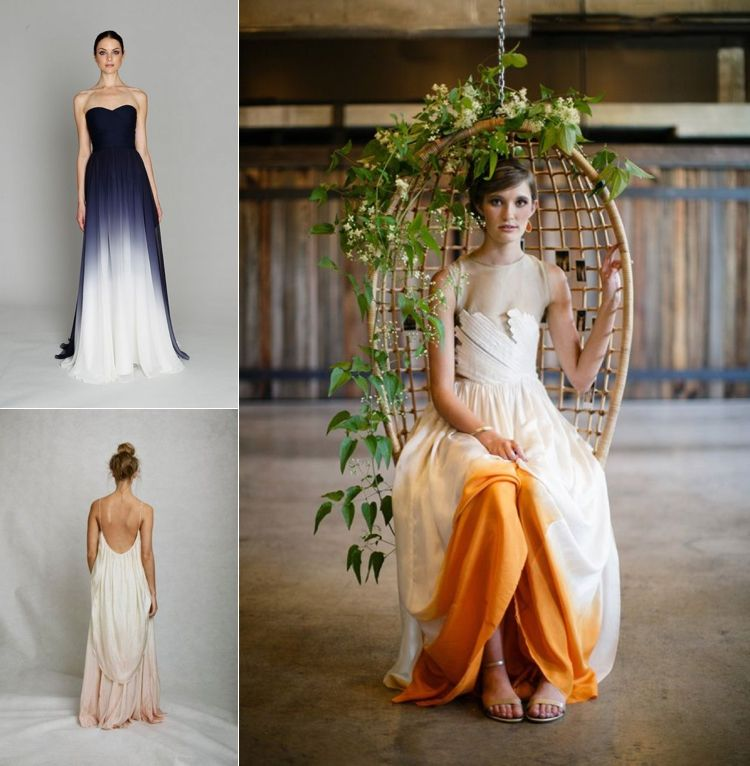Ombre And Dip Dye Wedding Dresses Dip Dyed Wedding Dress