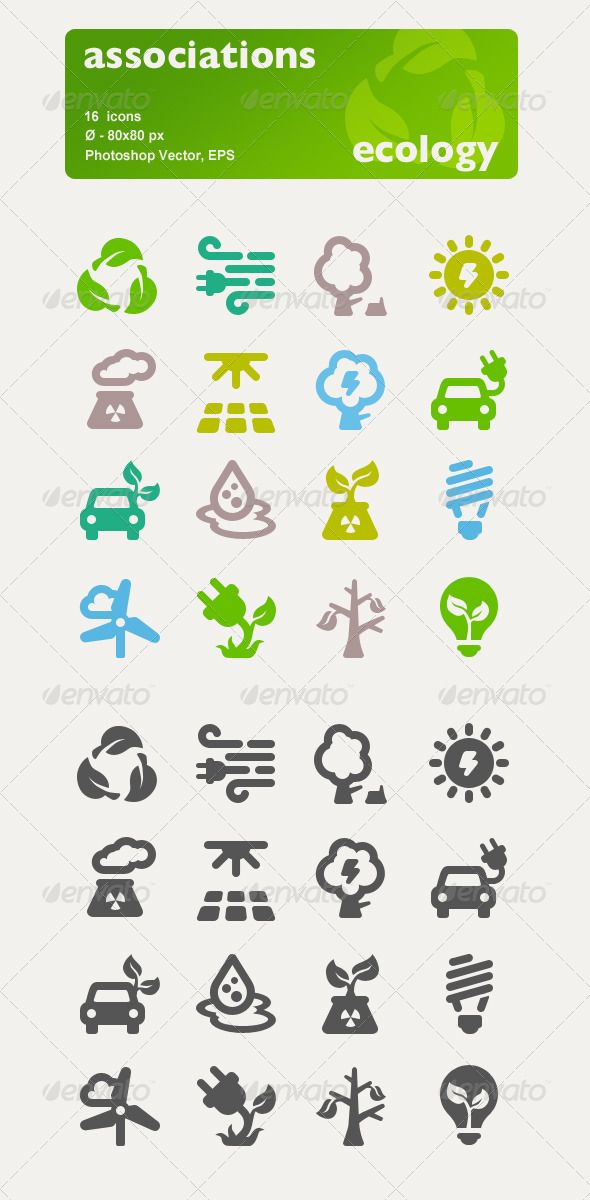 Associations. 16 Ecology Vector Icons. — Photoshop PSD #business #vector • Available here → https://graphicriver.net/item/associations-16-ecology-vector-icons/2961344?ref=pxcr