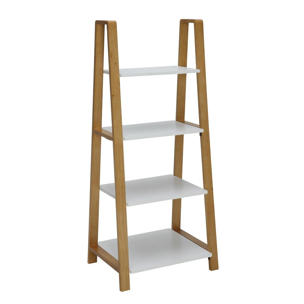Usl Pearce White And Natural Maple Small Office Bookcase