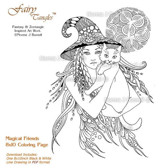 magical friends 8x10 fairy tangles coloring page witch and cat adult coloring book sheet by - Coloring Pages Of Witches