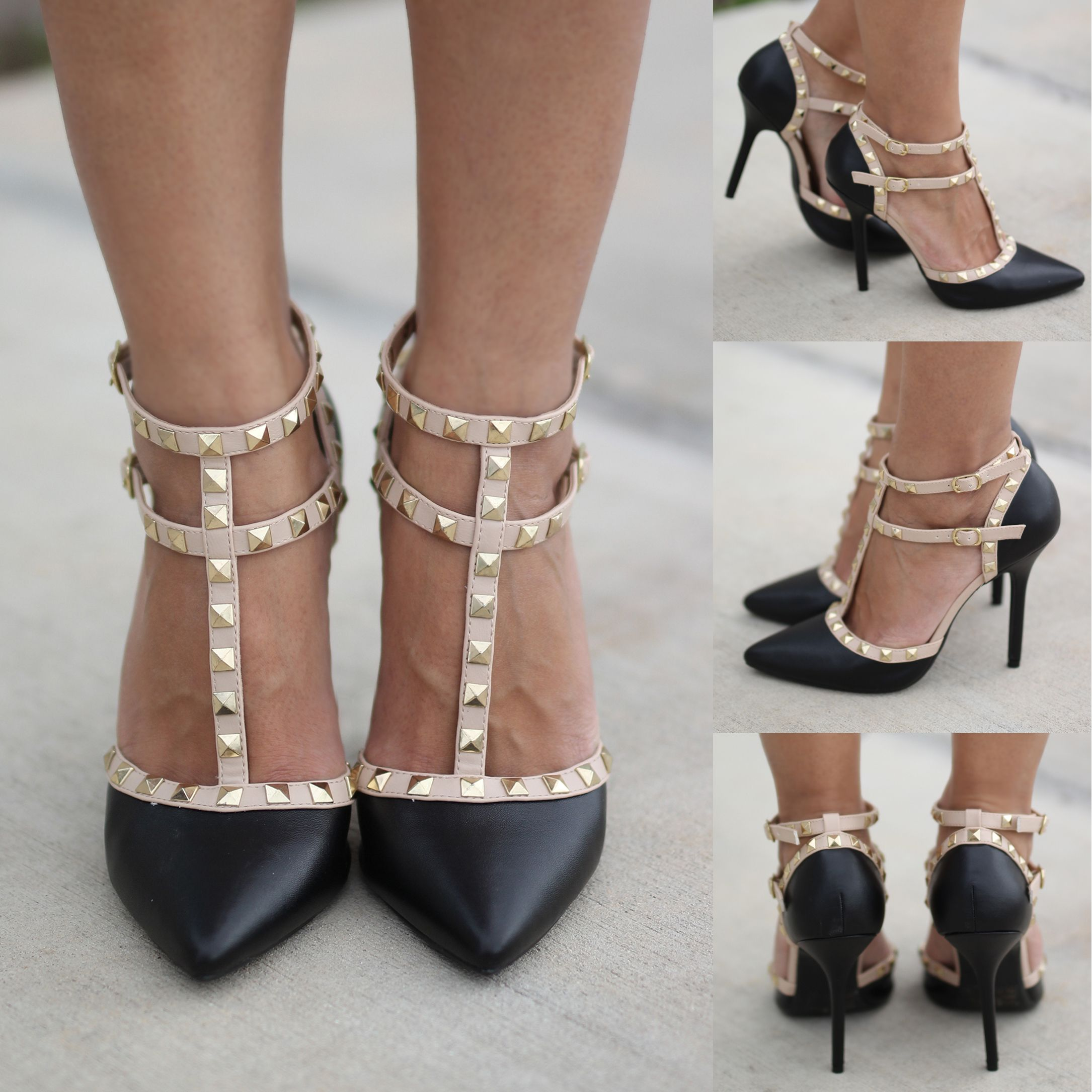 Black Studded Strappy Heels   Heels
