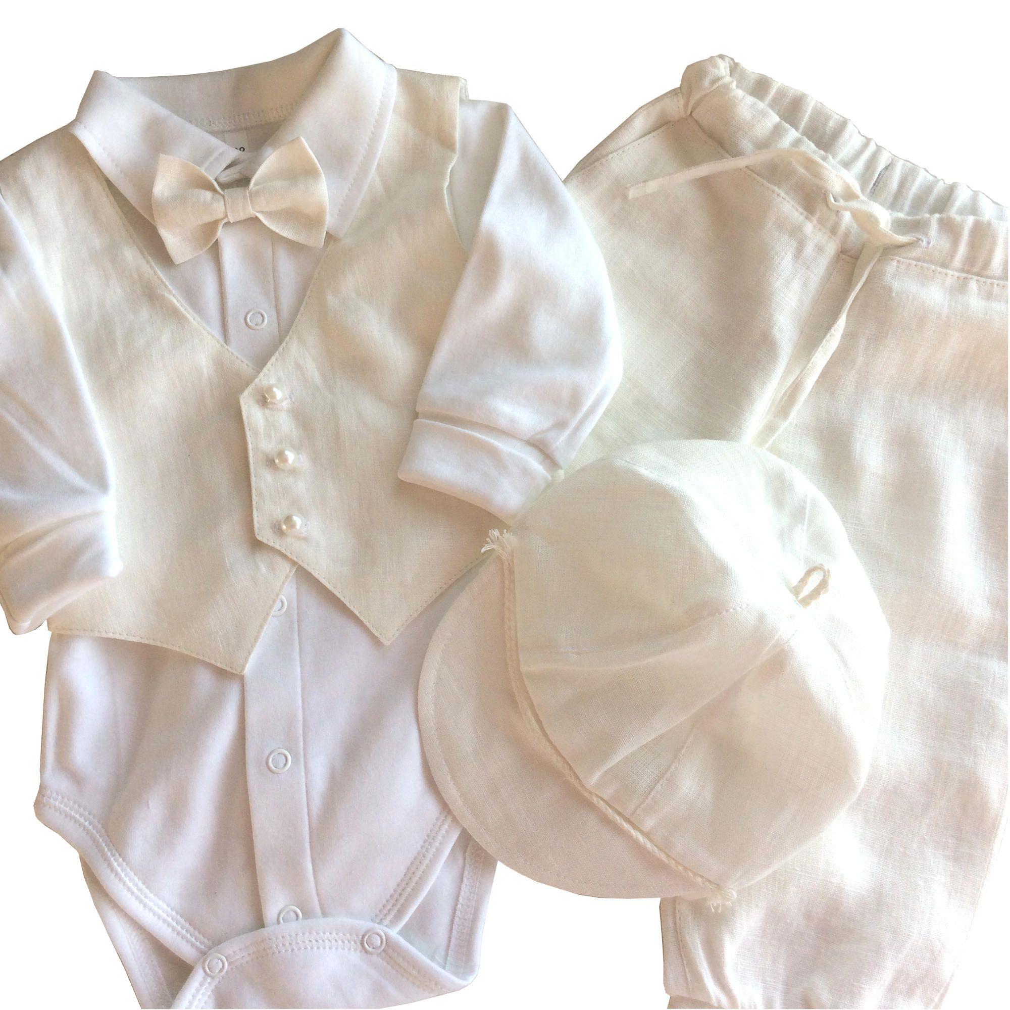 ac261686eb3 Babyboy white linen baptism set