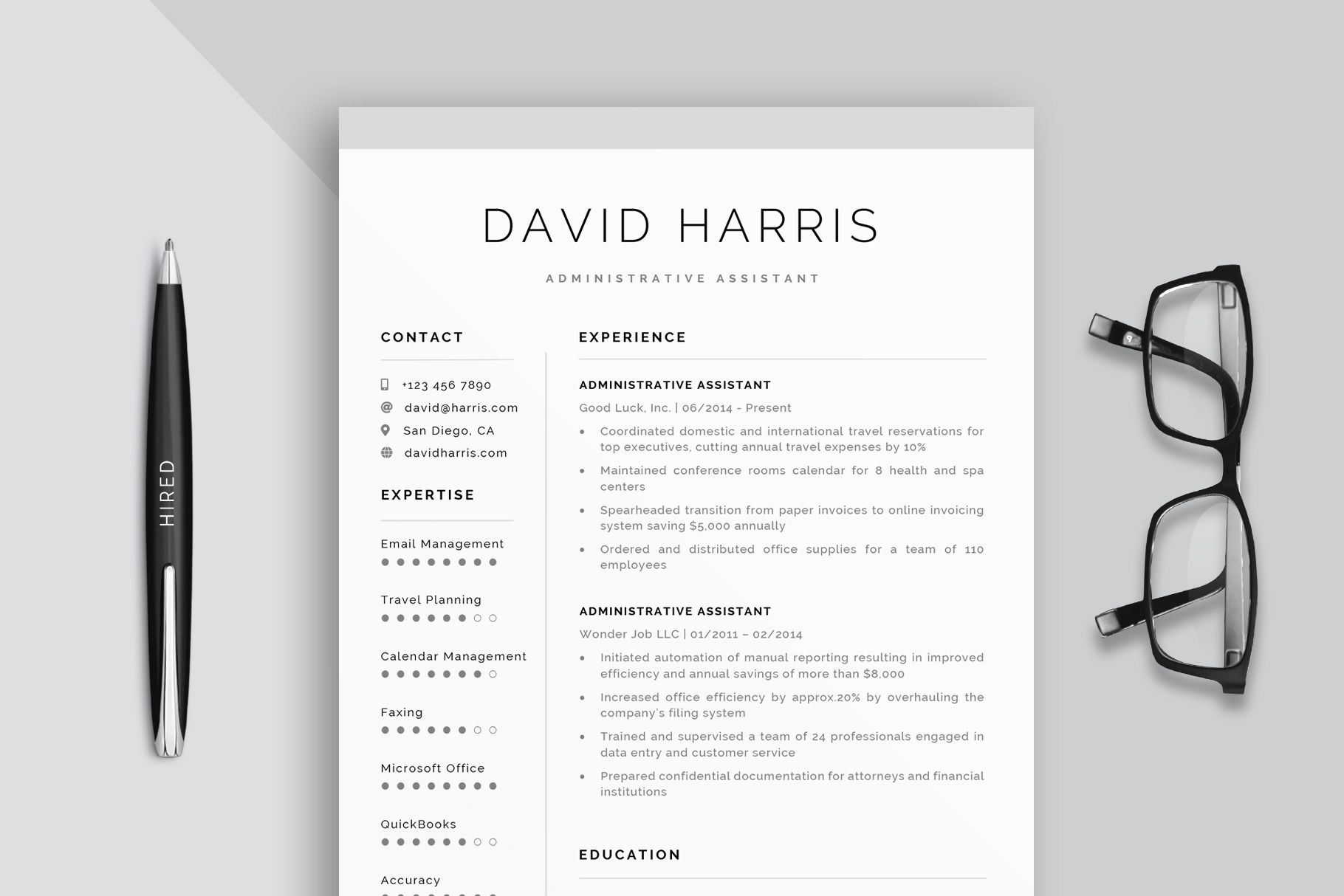 administrative assistant resume template and cover letter