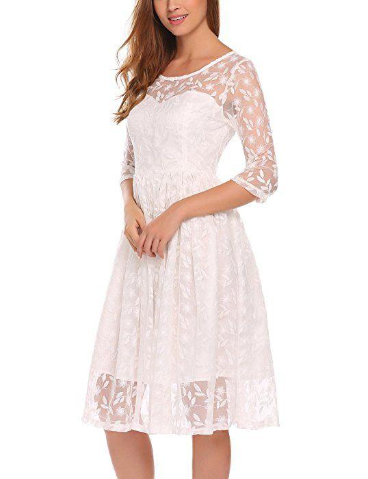 Keland Damen Vintage 1/2 Ärmel Stickerei Spitzenkleid Hochzeitskleid ...