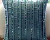 AquaTonic - Throw Pillow Covers - 18x18 Inches Suede Pillow Cover with Aqua Sequins