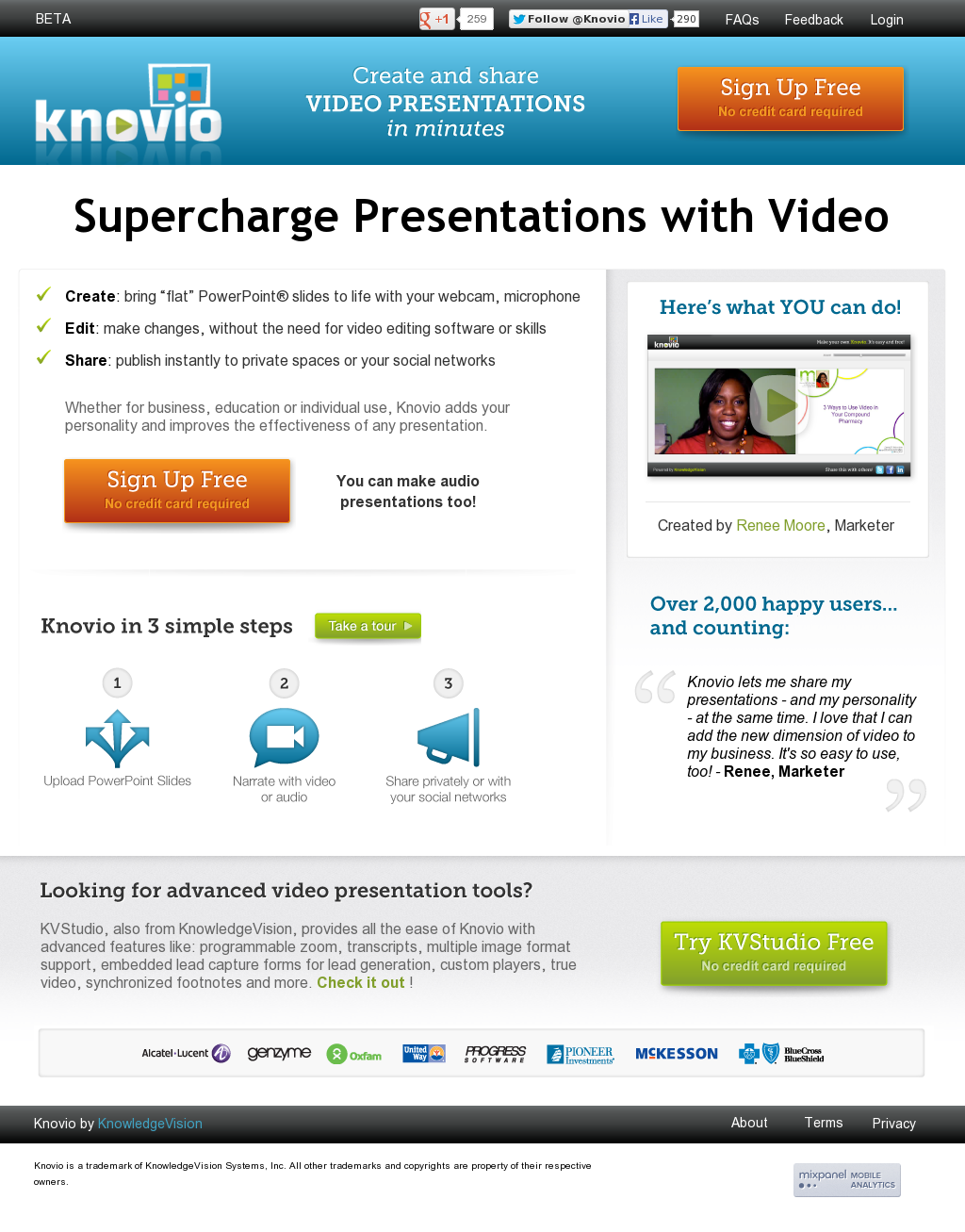 knovio allows users to upload static powerpoint presentations and