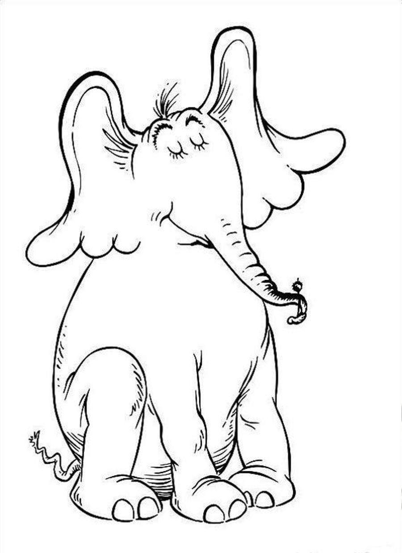 Dr. Seuss Horton Sitting Elephant Coloring Page | Coloringplus.com ...