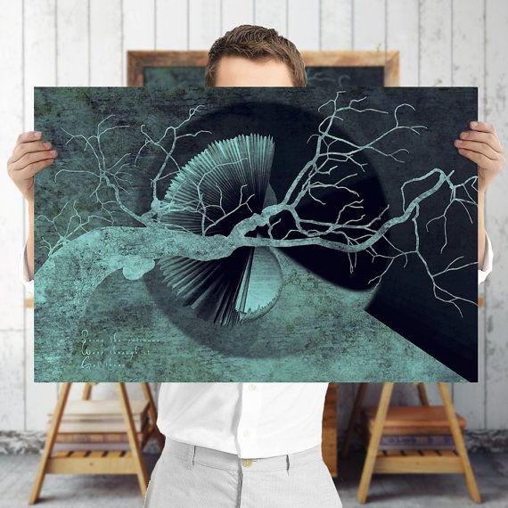 Barokke boom Art Print  blauw en zwart Boheemse door TreeomStudio