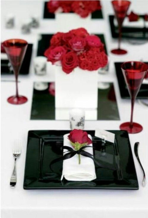 Elegant Black And White With A Touch Of Red Valentine Table
